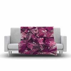"East Urban Home Birds of Prey Throw Blanket Size: 90"" L x 90"" W, Color: Magenta/Purple"