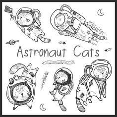 Cat astronaut clip art images - set of 9 illustrations. Each clip art is at least 6-8 inches on longest side and 300 PPI ------------------------------------------------------------ You Get: 9 Illustrations Format: PNG files(300 PPI, Transparent Background) JPG files (300 PPI)
