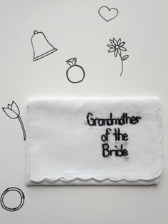 Grandmother of the Bride hand embroidered wedding keepsake hanky by wrenbirdarts $25