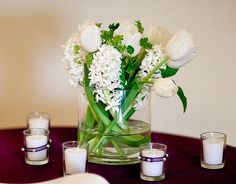 Centerpiece of Tulips and Hyacinth
