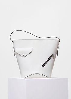 Bucket Biker Shoulder Bag in White and Dark Green Natural Calfskin - Céline