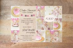 Cake Smash Templates Marketing Pack, 5 Templates for Photoshop, Instant Digital Download, Editable by DigiStock on Etsy