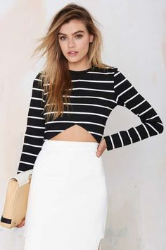 The Fifth Paperback Striped Crop Top