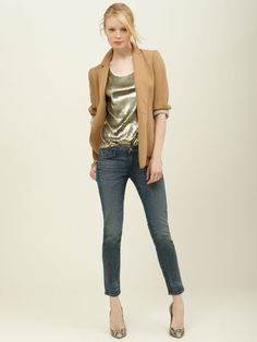 EARNEST SEWN.  WANT THE BLAZER & THE JEANS.....MAYBE THE GOLD LAME TOP AS WELL ;)