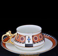 "Russian Imperial Lomonosov Porcelain Bone Coffee Cup and Saucer ""Vasilisa"", NEW"