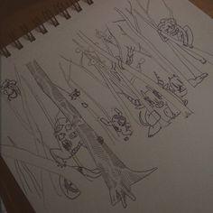 """""""Som forest dimons""""  #art #demon #doodle #illust #illustration #ink #forest #tree"""