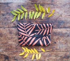 Copper Palm Leaf Leather Wallet Clutch by kertis on Etsy, $60.00