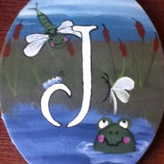 Monogram oval canvas painting for little boy.