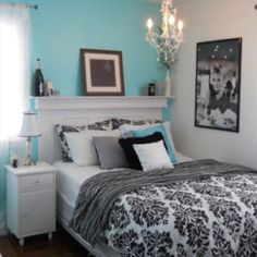 Breakfast at Tiffany's bedroom! I plan to do this theme for a bathroom at our future home. Love the color scheme and picture of Audrey!