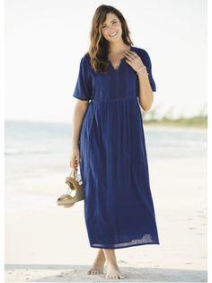 Plus Size Cotton Gauze Empire Dress