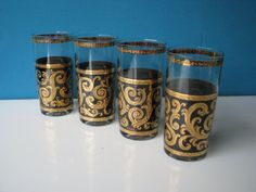 Culver Cocktail Glasses  Highball  Baroque Ebony by LucyBettyNJune