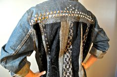 Upcycled Levi's denim jacket quilted back with studs, antique laces and trims…