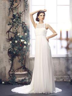 Elegant and Modern Empire Wedding Dresses Ideas : Sheath Column Floor Length Chiffon Empire Jewel Chapel Train
