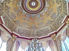 Hand painted & gilded design in cupola of private home. By Hannivan & Company Interior Decorating, Interior Design, Stencil Art, Paint Designs, Luxury Homes, Tapestry, Hand Painted, Painting, Home Decor