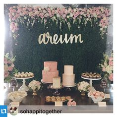 """We did the name """"areum"""" in my handwriting and then had it laser cut and it turned out so great all dressed up!Another fun and fabulous 1st birthday today at @theuniquespace with @_esthersun. Can't get over this beautiful hedge backdrop decor by @heavenly_blooms with custom calligraphy and laser-cut gold name by @letterstou ! Only the best @sweetnsaucyshop @foundrentals @borrowedblu @littlenellyla and @premiere_rents for our pretty in pink princess!"""