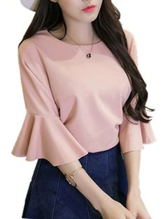 Middle East Solid Color O-neck Bell Sleeve T-shirts look chipper and natural. NewChic has a lot of women T-shirts online for your choice, believe you will find your cup of tea. Clothes For Sale, Clothes For Women, Women's Clothes, T Shirt Sewing Pattern, Bell Sleeve Shirt, Black Women Fashion, Tshirts Online, Long Sleeve Tops, Casual Dresses