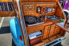 A nice teardrop camper kitchenette