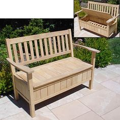 Wooden Benches SAVE Balthazar Outdoor Wood Bench SAVE Florence Wood Inlay Outdoor Park Bench Home of the best vintage and used furniture Wooden Storage Bench, Bench With Storage, Outdoor Storage, Wooden Benches, Patio Storage, Furniture Projects, Furniture Plans, Diy Furniture, Headboard Benches