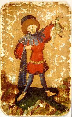 Kreneleringar (som på kragen) blir stort under sent och Medieval Games, Medieval Books, Medieval Life, Medieval Costume, Medieval Art, 15th Century Fashion, Sleeping Beauty Costume, Gouache, Vintage Playing Cards
