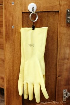 Easy Storage Idea Hang Your Kitchen Gloves On A Binder