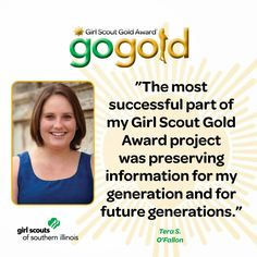 Tera S. from O'Fallon, IL earned the Girl Scout Gold Award for making an online database of headstones and markers in O'Fallon City Cemetery.