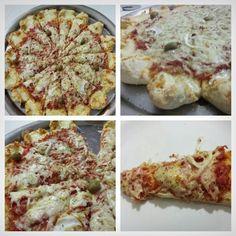 Pizza 3 queijos e presunto fe peru defumado com borda vulcão