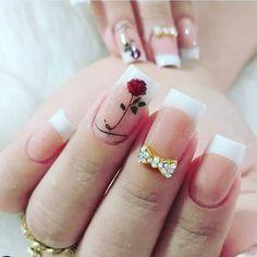 french nails with a twist Tips Gel Uv Nails, Aycrlic Nails, Cute Nails, Pretty Nails, Yellow Nails, Pink Nails, May Nails, Romantic Nails, Nagellack Design