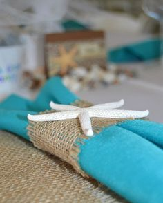 Homemade Burlap and Starfish Napkin Rings- 6 piece set
