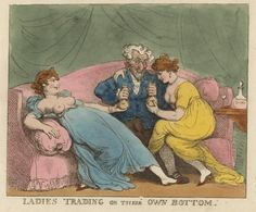 Ladies trading on their own bottom (ca. 1810) | Thomas Rowlandson (1756-1827) | Hand-colored engraving printed on wove paper watermarked 1815 | NYPL