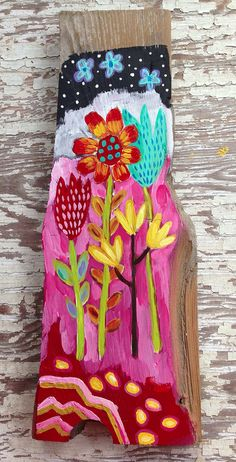 Hand Painted Floral Wall Art on Etsy, $46.00