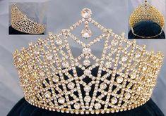 Miss Beauty Pageant Adjustable Gold  Rhinestone Crown Tiara - Crown Designers - Rhinestone Crowns, Tiaras & Scepters