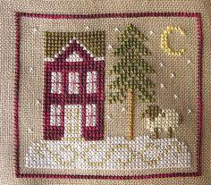 Christmas ornament cross stitch house