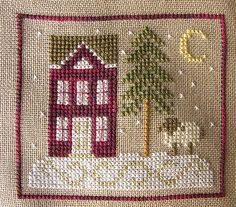 Christmas ornament cross stitch house