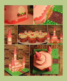 Pink castle cake and matching cupcakes