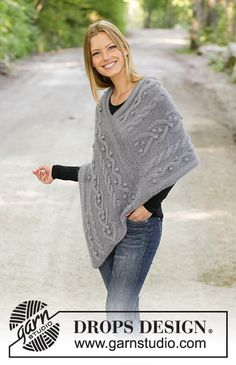 Videira / DROPS - Knitted poncho in 1 strand DROPS BabyAlpaca Silk and 1 strand DROPS Kid-Silk. Piece is knitted back and forth with cables and bobbles. Drops Patterns, Shawl Patterns, Knitting Patterns Free, Free Knitting, Crochet Patterns, Knitted Poncho, Knitted Shawls, Crochet Shawl, Knit Crochet