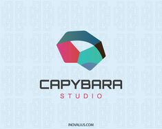 Capybara is an animal Logo with an abstract form of a capybara head with the colors pink, green, blue and brown.(capybara, animal, 3d, geometric, creative, multicolor, gradient, software, energy, colorful, vivid, logo for sale, logo design, logo, logotipo).