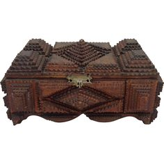 Sculptural Tramp Art Collectors Box from Antiques of River Oaks on Ruby Lane $250 - Questions Call: 713-961-3333