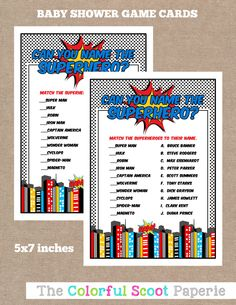 Superhero Baby Shower Game, Printable Baby Shower Games, Printable Shower Games, Games, Superhero Baby Shower  (#229) by TheColorfulScoot on Etsy https://www.etsy.com/listing/239666390/superhero-baby-shower-game-printable