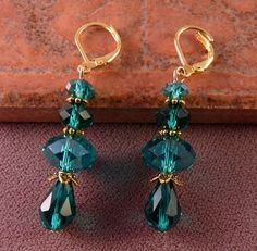 Crystal Earrings Emerald Beaded Earrings
