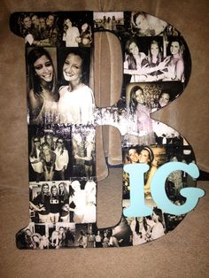 Modge podged pictures onto a wooden letter! So simple!
