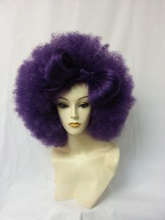 Purple hair bow afro wig