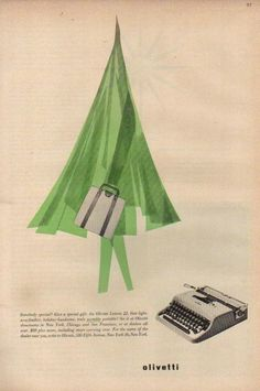 Olivetti Lettera 22 Christmas Ad *a typewriter for Christmas* http://www.etsy.com/shop/TypewriterWshop
