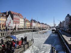 Nyhavn, Copenhagen, Denmark frozen in the winter of 2012