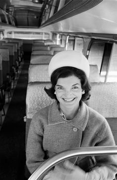 "A previously published photo by the great Alfred Eisenstaedt captures Jackie Kennedy somehow looking at once regal and wholly at ease while seated on a bus.  ""A lady,"" Norman Mailer wrote of Jacqueline Kennedy, ""whose face might be too imaginative for the taste of a democracy which likes its first ladies to be executives of home-management.""   See more photos here."