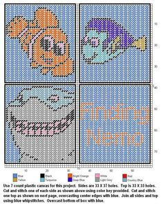 Nemo and Friends Plastic Canvas Coasters, Plastic Canvas Ornaments, Plastic Canvas Tissue Boxes, Plastic Canvas Crafts, Plastic Canvas Patterns, Cross Stitch Designs, Cross Stitch Patterns, Cross Stitching, Cross Stitch Embroidery