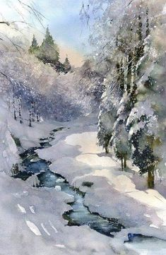 Best Ideas For Winter Art Painting Acrylics Winter Painting, Winter Art, Long Winter, Painting Art, Painting Snow, Watercolor Landscape Paintings, Watercolor Trees, Watercolor Artists, Nature Artwork