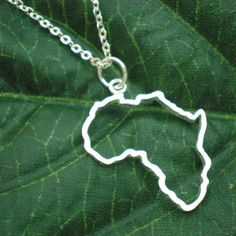 africa map necklace silver