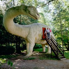 Brontosaur Sculpture At Dinosaur Gardens Prehistoric Zoo Outside Ossineke Michigan Usa