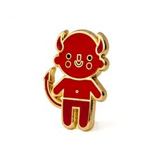 """Don't listen to your conscience - Gold pin with colored enamel - Rubber backing - Measures 1"""" tall"""