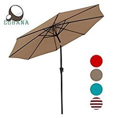 COBANA Patio Table Market Umbrella with Push Button Tilt and Crank 8 Steel Ribs Beige